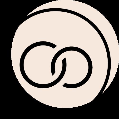 rundes schwarzes Icon mit dem Symbol für Ehe