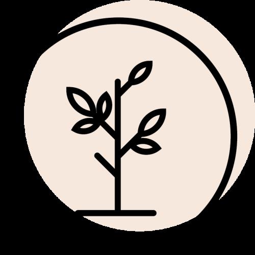 rundes schwarzes Icon mit dem Symbol für Natürlichkeit