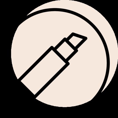 rundes schwarzes Icon mit dem Symbol für Lippenstift