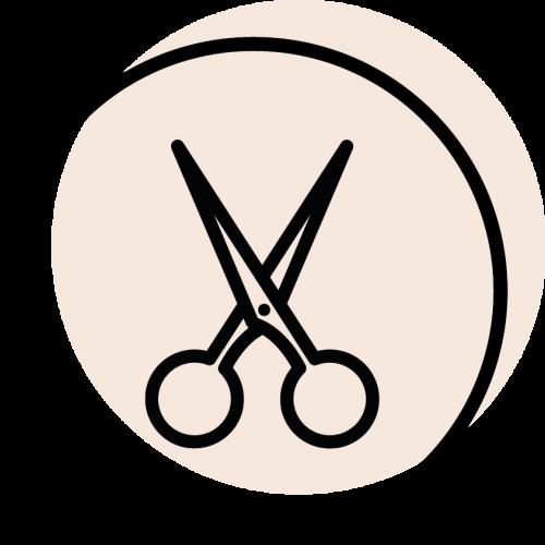rundes schwarzes Icon mit dem Symbol für Schere
