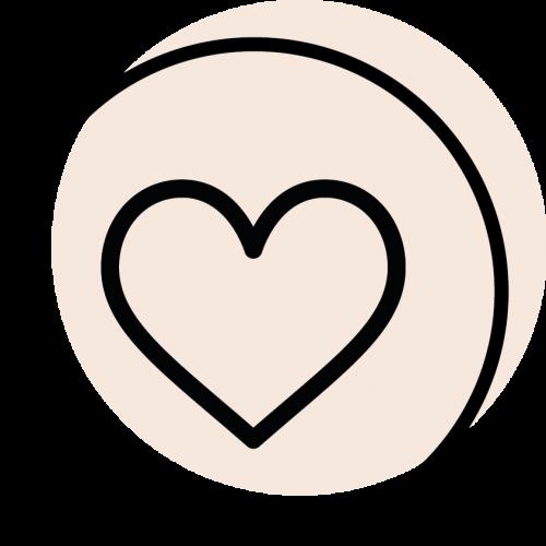 rundes schwarzes Icon mit dem Symbol für Herz